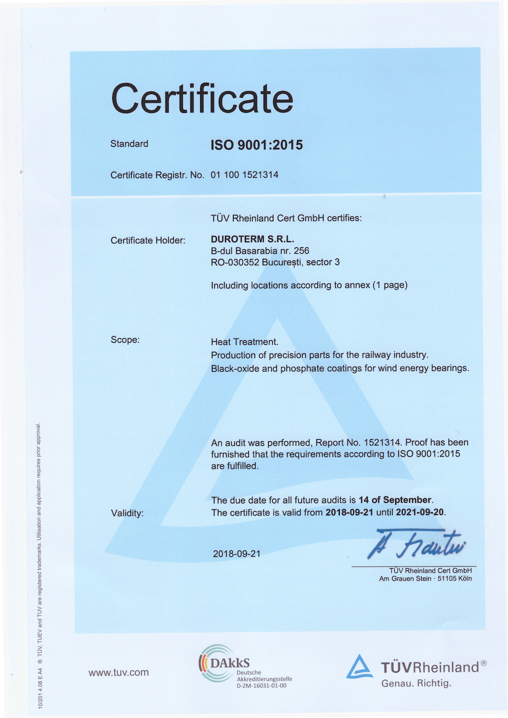 Duroterm was audited and obtained the certification ISO 9001